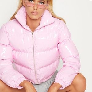 Jackets & Blazers - brand new never worn pink vinyl puffer